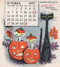 October 1957 calendar  black cat pumpkin halloween samhain