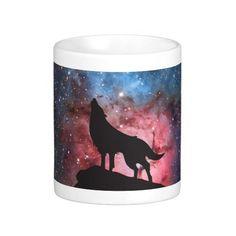 Wolf Howling in Galaxy Coffee Mug