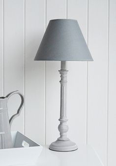Classic Grey Bedside Table Lamp