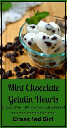 mint chocolate gelatin hearts - paleo