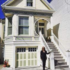 Posing in front of a painted lady in my SF neighborhood. #sanfrancisco #spring by a.lively.life