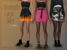 Trillyke - Checkmate Cargo Skirt Sims 4 Mods Clothes, Sims 4 Clothing, Sims Mods, Sims 4 Mac, Sims Cc, Sims 4 Collections, Sims 4 Teen, Sims 4 Dresses, Sims4 Clothes