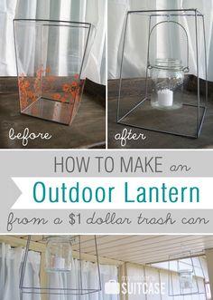 Trashcan turned into an outdoor mason jar candle lantern. --> j'aimerais bien voir ce que ça donne avec une monture ronde plutôt que carrée?