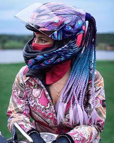 Icon Airmada Opacity Helmet with purple braid hair accessory - MotoKitty Gear - Motorcycle Pink Motorcycle, Motorcycle Helmet Design, Womens Motorcycle Helmets, Futuristic Motorcycle, Motorcycle Gear, Monster Motorcycle, Cool Motorcycles, Vintage Motorcycles, Moto Rose