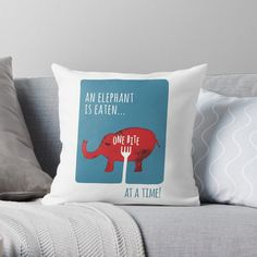 "'You Eat an Elephant One Bite at a Time' Illustration"" Throw Pillow by PositivePrinted 