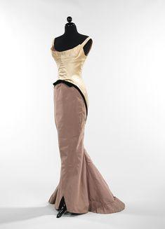 """Charles James, """"Diamond"""" evening dress, 1957. Silk: ivory satin: mushroom gros de londres; black velvet."""