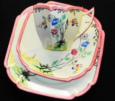 Shelley Queen Anne Tall Black Pink Tea Cup and Saucer Trio