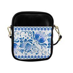 Beautiful Blue Russian Vintage Floral Pattern Sling Bag (Model 1627)