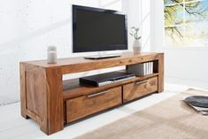 Products Solid TV board Makassar Sheesham lowboard two drawers Riess AmbienteRiess Ambiente La Modern Home Interior Design, Interior Design Elements, Interior Architecture, Eco Furniture, Solid Wood Furniture, Makassar, Living Room Modern, Living Room Decor, Minimalist Home