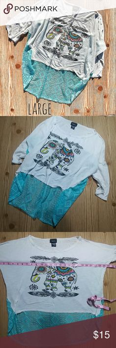 Rue21 Teal White Elephant High Low Top(L) Great condition. No stains. Mint blue teal colored back. Flowy long crop top. Size large. Soft stretchy material. Rayon/polyester mix. Rue21 Tops Crop Tops