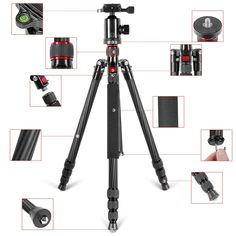 Neewer Lightweight Portable 66-inch Carbon Fiber Camera Tripod Monopod with 360° Ball Head and Bubble Level, Load capacity 26.5lbs/12kg