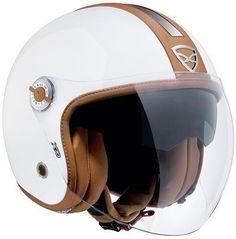 Nexx X70 Groovy Helmet - White/Camel Open Face Scooter helmet