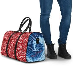 Blue Tie Dye, Paisley Design, Waterproof Fabric, Travel Bags, Gym Bag, Shoulder Strap, Luxury, Red, The Originals