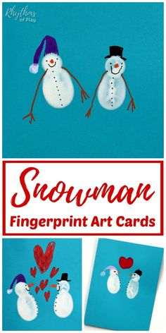 Handmade fingerprint snowman Christmas cards! Thumbprint and fingerprint snowman cards are easy fingerprint art cards kids and adults can make! Invite children to make a homemade fingerprint snowman card to send to friends and family for this year! | #SnowmanCraft #FingerprintArt #ChristmasCards #HomemadeCards #HomemadeChristmasCard #ChristmasCraft #WinterCraft