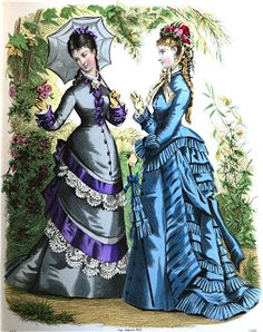 These 1875 Ladies Outfits come from original sources. 1870s Fashion, Victorian Fashion, Vintage Fashion, Victorian Steampunk, Victorian Era, Vintage Gowns, Vintage Outfits, Vintage Clothing, Fashion Illustration Vintage