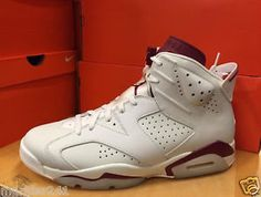 Men s Size 10.5 NIKE AIR JORDAN 6 RETRO - Off White   New Maroon - 384664 2cd8ce37f
