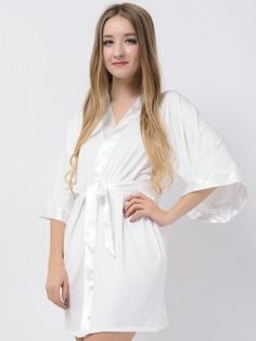 Ivory Jersey Stretchy Robes With Satin Trim Cheap Bridesmaid Robes Wedding Robes Modal Bride Robe Bridesmaid Robes, White Dress, Ivory, Satin, Wedding, Dresses, Fashion, Valentines Day Weddings, Vestidos