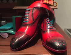 Dominique Saint Paul hand coloured shoes and matching belt. Half brogue shoes and matching belt – both hand coloured. Goodyear welted. Ready to wear and made to order service. International shipping for all products.   At The Macallan event in Saigon