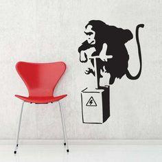 Vinyl Wall Stickers, Vinyl Wall Art, Banksy Wall Art, Mural Wall, Wall Decal, Banksy Monkey, Game Room Kids, Room Ideas Bedroom, Small Bedrooms