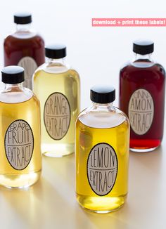 How to make your own homemade extracts...print labels- would make a wonderful hostess gift <3