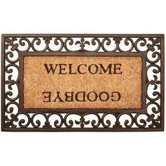 www.agradi.nl  Rechthoekige klassieke (Victoriaanse) rubber en kokos deurmat met sierlijke krullen en de teksten WELCOME en GOODBYE. Maat 76x45x2...