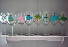 wine glass designs painted - Google Search