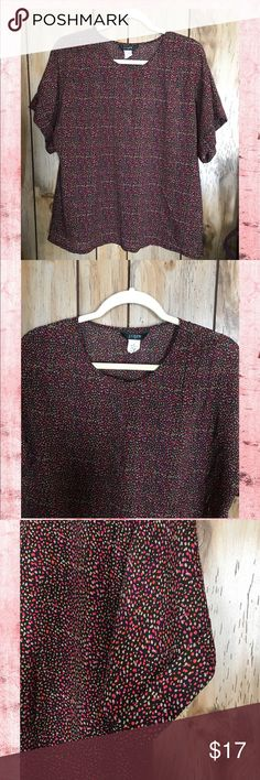 """J.Crew..Short Sleeve Two Button Multi Color Top S A Blouse Perfect for Spring 🌸. Semi-Sheer, Black With Colors of  Red, Magenta, LightPink and Yellow in Shapes of Circles. Has Two Button Closure Top Middle of Blouse, That are Hidden.  Sleeves Have Cuffs. Front Shoulders have 3 Folds of Fabric on Each Side ( See Pic #2 ). Fabric Contents 100%  Polyester. Length 26"""".  Excellent Condition!!💕. Size Small J. Crew Tops Blouses"""