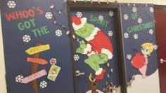 Christmas door decorating with the grinch!