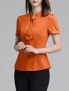 Necktie Plain Chiffon Blouse - Was And Now - online shopping with discounted pricesLearn most recent women's blouses, excellent for future experience or situation. Abaya Fashion, Dope Fashion, Korean Fashion, Fashion Outfits, Cute Blouses, Blouses For Women, Women's Blouses, Blouse Styles, Blouse Designs