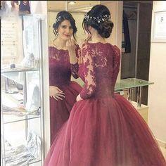 Cheap Burgundy Evening Prom Dresses 2017 Lace Three Quarter Sleeve Ball Gown Prom Dress 2016 Elegant Long Prom Dresses