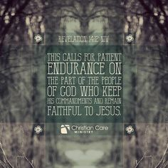 """Revelations 14:12 """"This calls for patient endurance on the part of the people of God who keep His commandments and remain faithful to Jesus"""""""