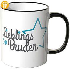 Wandkings® Tasse, Schriftzug: Lieblingsbruder mit blauen Sternchen - SCHWARZ - Tassen mit Spruch | Lustige Kaffeebecher (*Partner-Link)