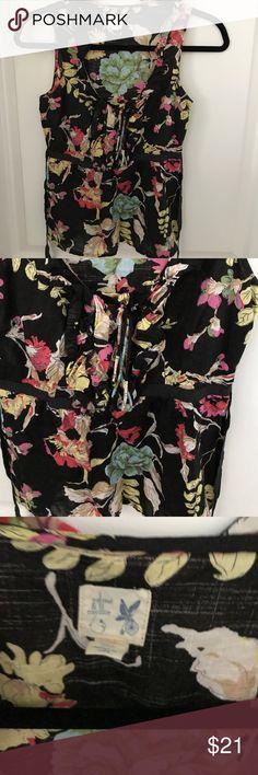 Anthropologie edme& esyllte top Floral print w ruffle detail, scoop neckline, floral print, tie back Anthropologie Tops Blouses