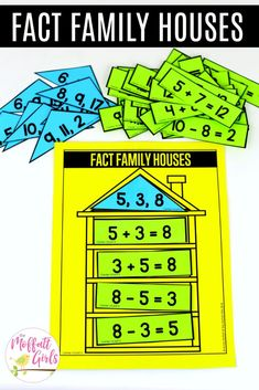 First Grade: Subtraction - Fact Family Houses: This fun Grade Math activity helps students practice subtraction in a hands - First Grade Games, Centers First Grade, 1st Grade Activities, 1st Grade Math, Math Centers, Montessori Activities, Grade 2, Subtraction Activities, Numeracy
