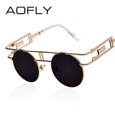 6cca95efce AOFLY Fashion Metal Frame Steampunk Sunglasses Women Brand Designer Unique  Men Gothic Sun glasses Vintage Oculos De Sol Feminino