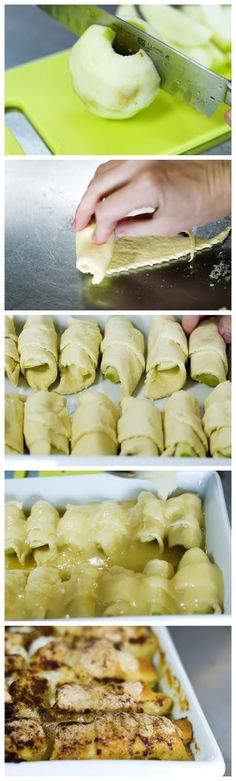 Apple Dumplings -2 whole Granny Smith Apples 2 cans (8 Oz. Cans) Crescent Rolls 2 sticks Butter 1-1/2 cup Sugar 1 teaspoon Vanilla Cinnamon, To Taste 1 can (12 Oz.) Mountain Dew Soda. My mom makes this all the time!! It's amazing!!