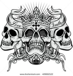 Images, photos et images vectorielles de stock de Gothic coat of arms with skull, grunge vintage design t shirts similaires - 787035169 Skull Rose Tattoos, Skull Hand Tattoo, 4 Tattoo, Skull Tattoo Design, Body Art Tattoos, Sleeve Tattoos, Tattoo Designs, Chest Tattoo Drawings, Cool Chest Tattoos