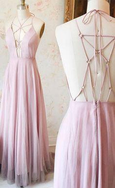 Unique Pink v neck long prom dress, pink evening dress, backless formal dress