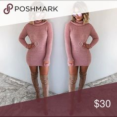 Sweater dress Light pink, soft sweater dress with cute collar! Never worn before, too big on me:) shophopes Dresses Long Sleeve