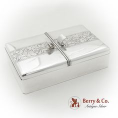 Engraved Chased Double Compartment Cigarette Box Wood Lining Sterling Silver Smoking Accessories, Cigarette Case, Art Deco Fashion, Wooden Boxes, Antique Silver, Berries, Sterling Silver, Antiques, Wood Boxes