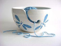 Dragonfly Yarn bowl  Handmade Pottery yh273n by DarriellesClayArt, $34.00...... I want one or two for my yarn!!! Love :-)