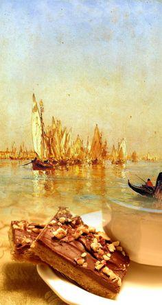 Felix Ziem:Barcos de Venecia and Chocolate - hazelnut bars