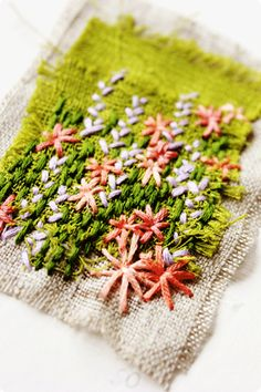 environmentally friendly textile art... inspired by nature - beautiful flower and grass embroidery (hva)