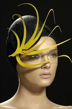 DONNA KARAN The late isabella blow and philip treacy have really revolutionized what modern headgear is. not sure whose work of art is draping edita in the first picture, but it looks absolutely weightless and strong at the same time. Fascinator Hats, Fascinators, Headpieces, Millinery Hats, Philip Treacy Hats, Mode Costume, Crazy Hats, Fancy Hats, Wearing A Hat