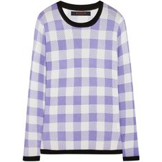 Sister by Sibling Gingham knitted sweater ($158) ❤ liked on Polyvore featuring tops, sweaters, shirts, knitwear, medium knit, purple, gingham shirt, purple sweater, gingham top and shirt sweater