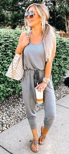 Stylish Outfit Ideas To Beat The Summer Heat Explore gray romper pants and Damier Azur Louis Vui Korean Summer Outfits, Elegant Summer Outfits, Preppy Summer Outfits, Summer Outfits Women Over 40, Summer Outfit For Teen Girls, Stylish Outfits, Classy Outfits, Outfit Summer, Spring Outfits Curvy Women