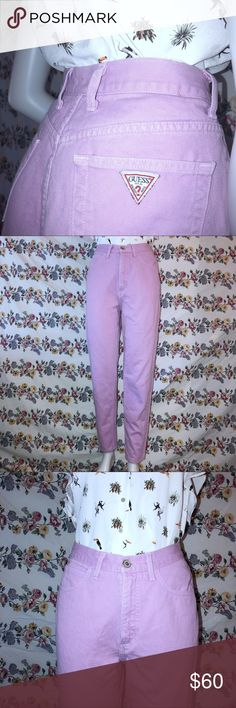 """GUESS?🔻jeans vintage lavender *Size: 8 (28 1/2"""") Says 31, but measures 28 1/2"""", so size 8.*  *100% Cotton*  *Machine wash separately, cold water*  *Measurements: Waist: 28 1/2"""" Hips: 38 1/2"""" Inseam: 28 1/4"""" Outseam: 40"""" Rise (front): 11 3/4"""" Rise (back): 14 3/4"""" Leg opening: 13""""*  -Classic fit -Narrow leg -High waisted vintage -Trendy acid wash lavender fade exterior -90s vibe, grunge -Like new excellent condition -Pairs well with any top and any kind of shoe Guess Jeans Straight Leg"""