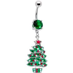 Emerald Green Gem Holiday Christmas Tree Belly Ring