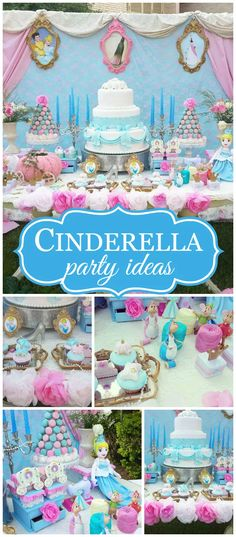 You have to see this stunning Cinderella party! Disney Princess Birthday, Cinderella Birthday, Cinderella Movie, 4th Birthday Parties, Birthday Bash, Birthday Ideas, Birthday Crowns, Princesse Party, Party Fiesta