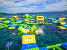 Just in time for the summer, Lake Michigan's floating water park opens this month Lake Floats, Pool Floats, Water Parks In Texas, Inflatable Water Park, Giant Inflatable, Inflatable Island, Sports Nautiques, Lake Michigan Beaches, Water Playground